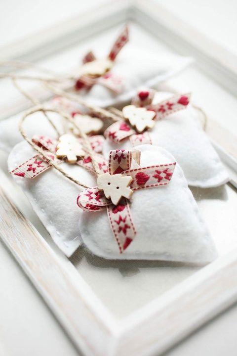 Karácsonyi filc szívek, Dekoráció, Karácsonyi, adventi apróságok, Karácsonyfadísz, Karácsonyi dekoráció, Meska