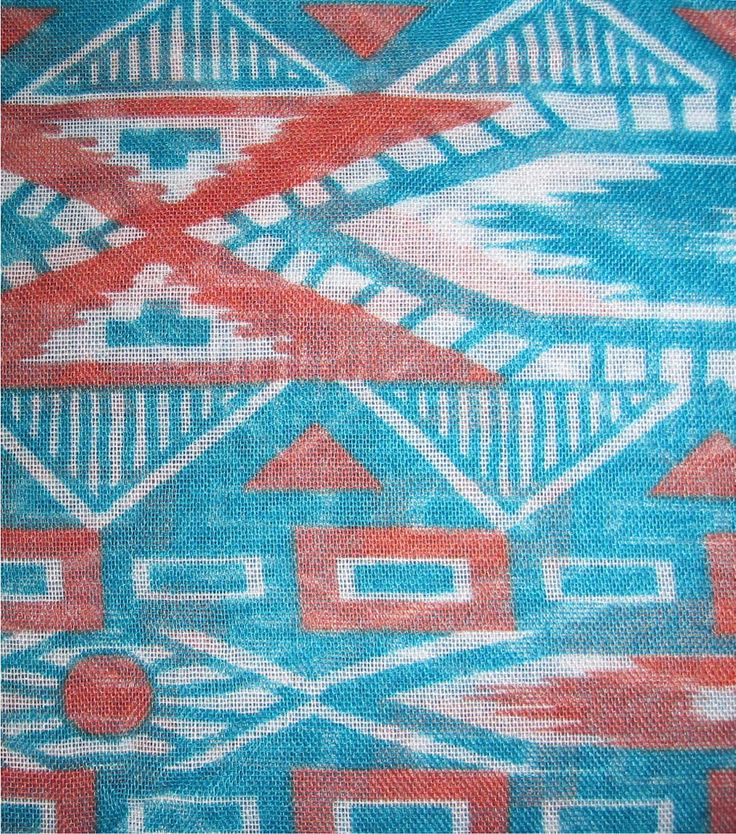 Southwest Fabric- Aztec Sheer Orange Turquoise PolyesterSouthwest Fabric- Aztec Sheer Orange Turquoise Polyester,