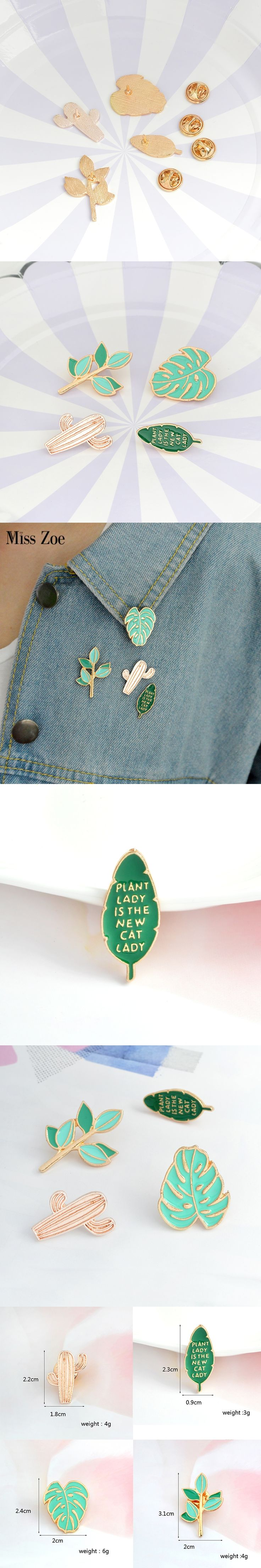 4pcs/set Cartoon Green Plant Little Tree Mexican Cactus Leaf Brooch Pins DIY Button Pin Denim Jacket Pin Badge Gift Jewelry