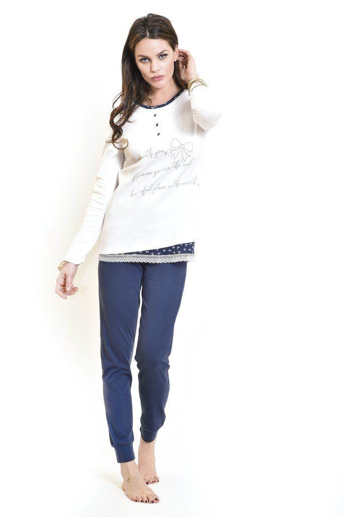 selezione premium fa049 65724 Pigiama Serafino Maglia con Stampa Pantaloni in Unito di ...