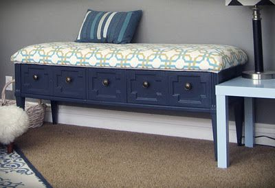 Turn a coffee table into a chic bench.  Great idea and so cute! smartgirlstyle: coffee table-turned padded bench