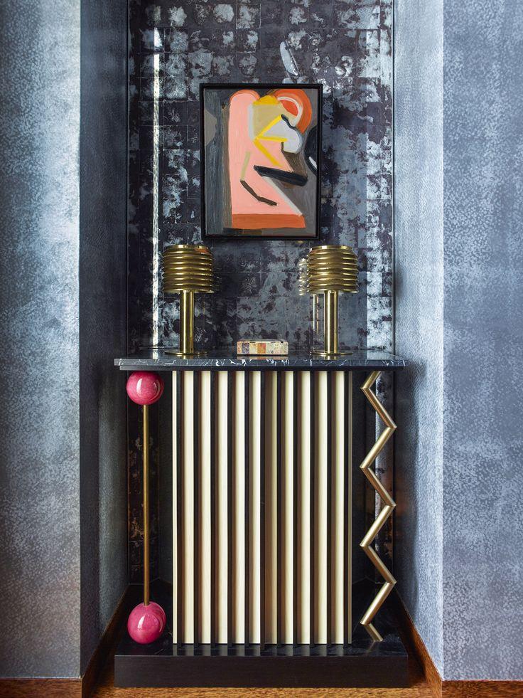 KELLY WEARSTLER   INTERIORS. Custom Peter Shire console in the Powder Room. Blodgett Residence, New York