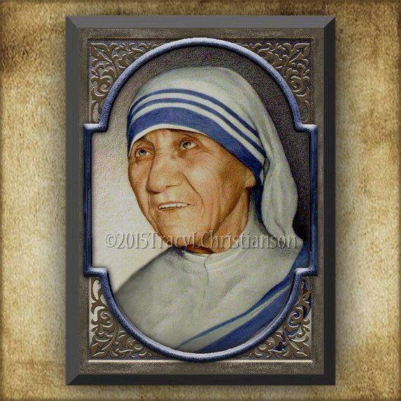 St. moeder Teresa van Calcutta hout Plaque & door PortraitsofSaints
