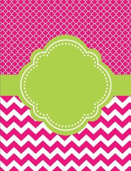 "Moroccan and Chevron Binder Cover ~ Two Versions both Lime Green and PinkI love cute binder covers. You can add a label to it or write on it. If you decide to download this free product, please take a moment to leave feedback. It's much appreciated. ""Follow Me"" for updates and new products."