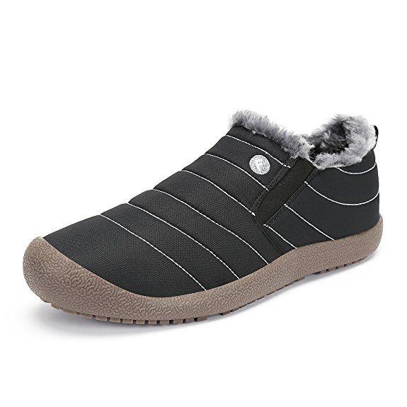 SAGUARO® Herren Damen Winterschuhe Warm Gefütterte Boots Stiefelette Outdoor Waterproof Schneestiefel,Low top schwarz,42 EU