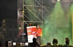 Nadia Mikushova. New Year's concert of Italian popular rapper Caparezza in Milan. stock photo