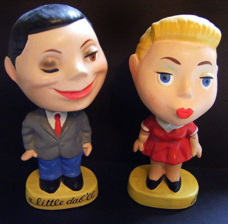 """Remember Brylcreem? How about some very hard to find """"A Little Dab'll ... Do You"""" vintage papier mache nodders"""