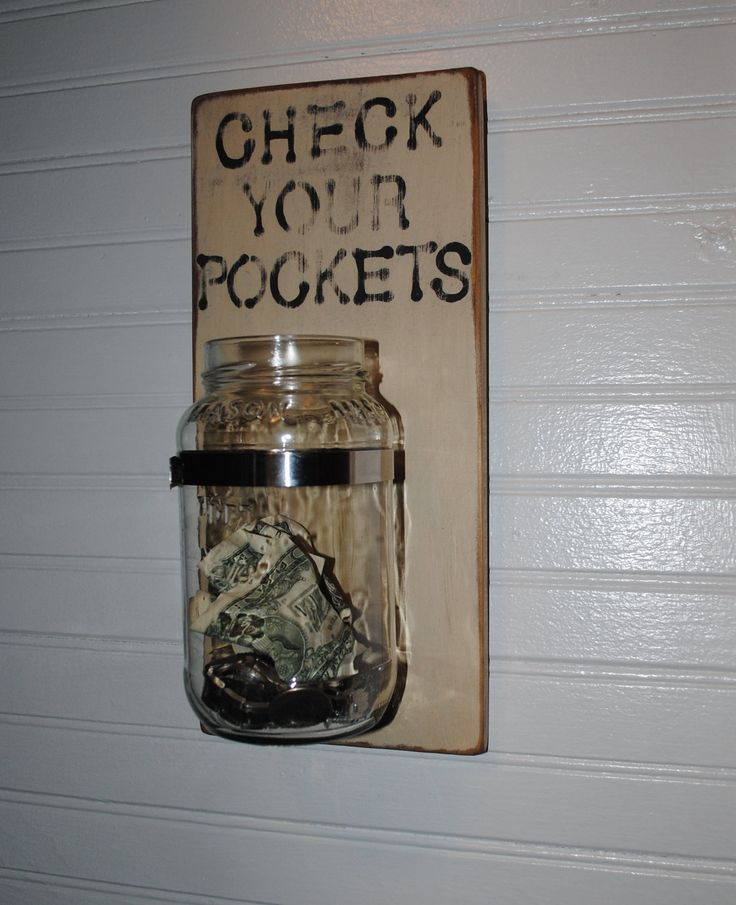 Cute idea-maybe we could save the  money for something special? Check Your Pockets Laundry Room Sign. $18.00, via Etsy.
