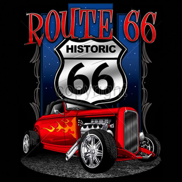 Hot Rod Route 66 T Shirt Men S T Shirt Choose Shirt Color Black