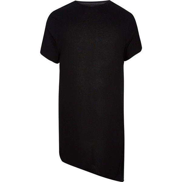 River Island Black longline asymmetric t-shirt ($20) ❤ liked on Polyvore featuring men's fashion, men's clothing, men's shirts, men's t-shirts, mens short sleeve t shirts, mens longline t shirt, mens crew neck t shirts, j crew mens shirts and mens asymmetrical shirt