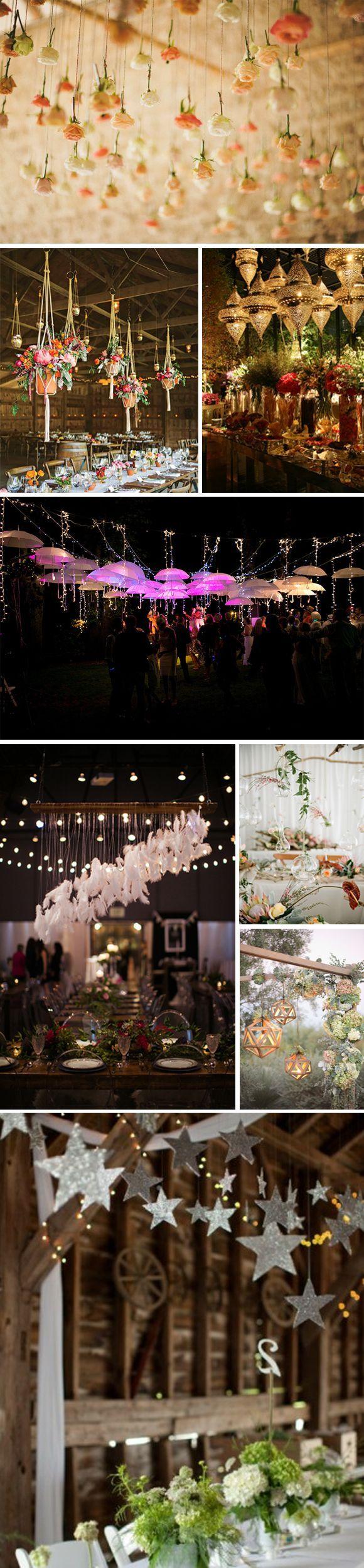 Ideas para decorar tu boda con adornos colgantes: flores, lamparas, jaulas, pompones, etc. Como crear una preciosa decoración colgante en tu boda.