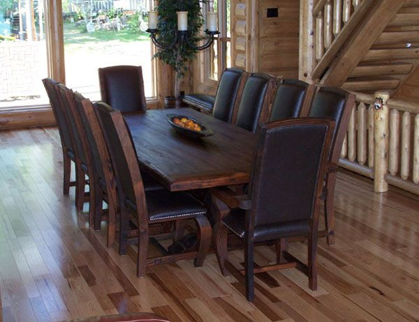 Kitchen:Dark Wood Dining Chairs With Dark Leather Seat Dark Wood Dining Table Striped Laminate Flooring Rustic Dining Set Rustic Dining Table Rustic Dining Chairs Selecting Dining Table
