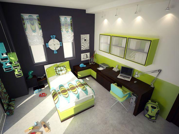 chambre ado garçon en blanc, gris graphite et vert anis