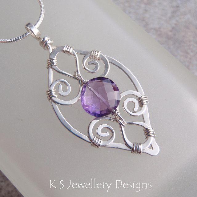 Purple Leaf - Amethyst Spiral Loop Leaf Frame Sterling Silver Pendant (KS30) by KSJewelleryDesigns, via Flickr