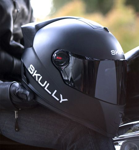 Innovative motorcycle helmet designed by Skully is equipped with heads-up display, GPS navigation, bluetooth, and rear-view camera.