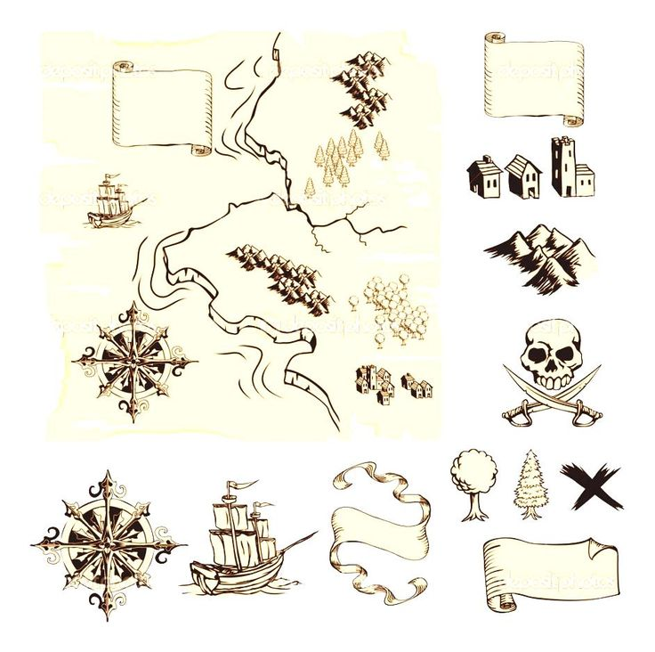 Art Decoration For Classroom ~ Treasure map symbols clipart cruise decorations on