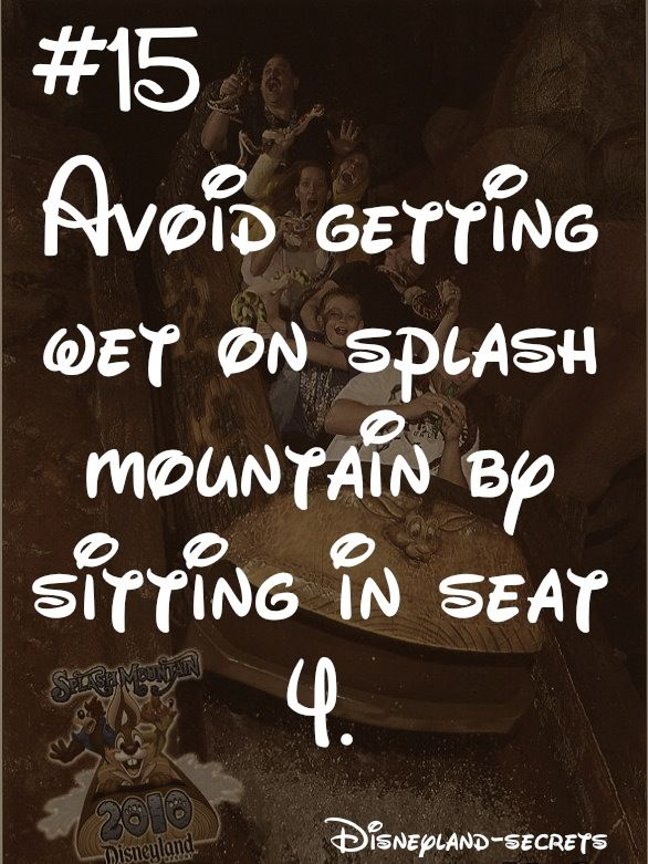 Hahaha! When I was 9 my brother and I went on Splash Mountain and we didn't get water on us at all. Meanwhile my parents got soaked because it had started to rain while they were waiting for us outside. We still laugh about this. :) -April