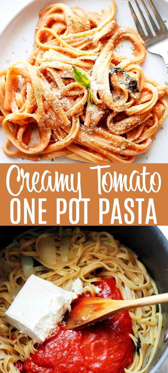 Creamy Tomato One Pot Pasta The Easiest Creamy Tomato Pasta Loaded Fresh Herbs Pasta Sauce Easy Pasta Recipes Quick Creamy Tomato Pasta Creamy Pasta Recipes
