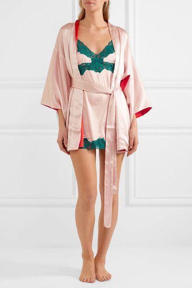Light-pink and red silk-satin Slips on 100% silk Hand wash Designer color: Pale Blush/ High Risk Red