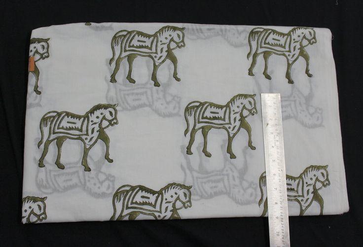 5 yard Printed Horse Design India Cotton Fabric/Natural Vegetable Dyes for Dresses,Curtain Jaipur Sanganeri Print hand block Print Fabric by BLOCKPRINTFABRIC on Etsy