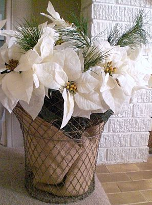 Wire and burlap wrapped pot- nice way to hide the pot, add some texture and show off the wire.