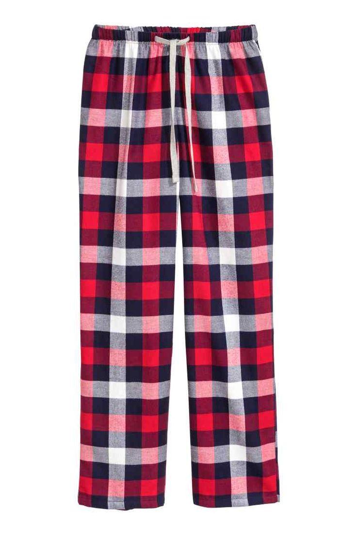 Pantalon de pyjama en flanelle: Pantalon de pyjama en flanelle de coton souple. Modèle avec élastique et lien de serrage à la taille. Jambes amples et légèrement effilées.