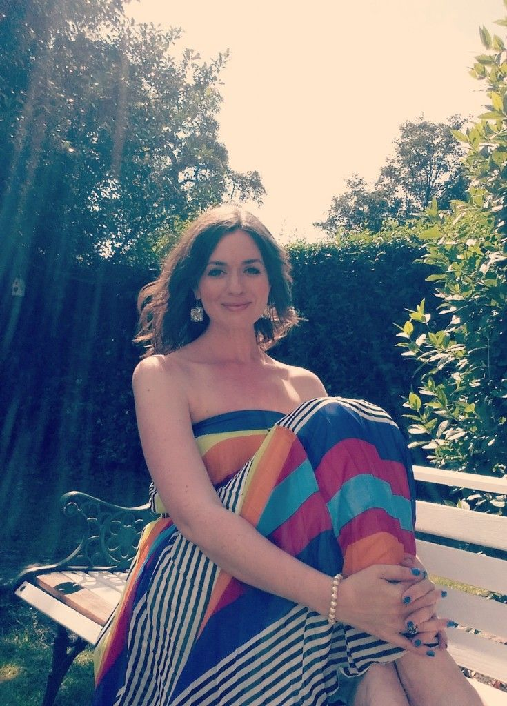 Embracing the sunshine in my 'rainbow dress' / multicoloured stripes.