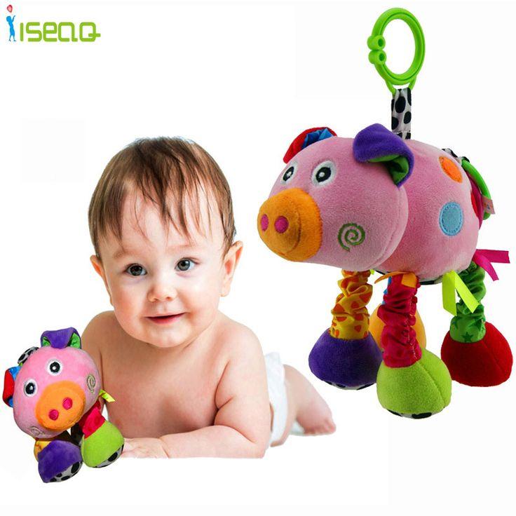 Детские Погремушки и Mobiles Детские Игрушки Голос Розовая Свинья Детские Развивающие игрушки Кукла, Чтобы Успокоить Милый Кровать висит Для Детей Подарок
