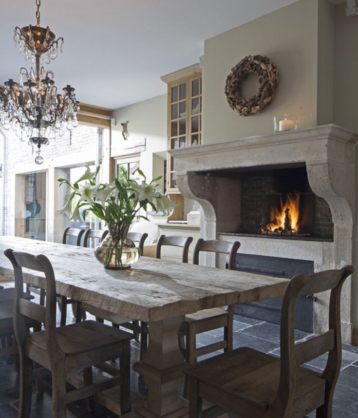 Cozy Kitchens With Fireplaces