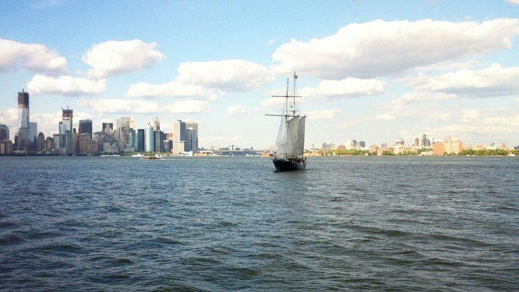 New York and Brooklyn Skyline with Sail boat #CircleTour #vacation2012