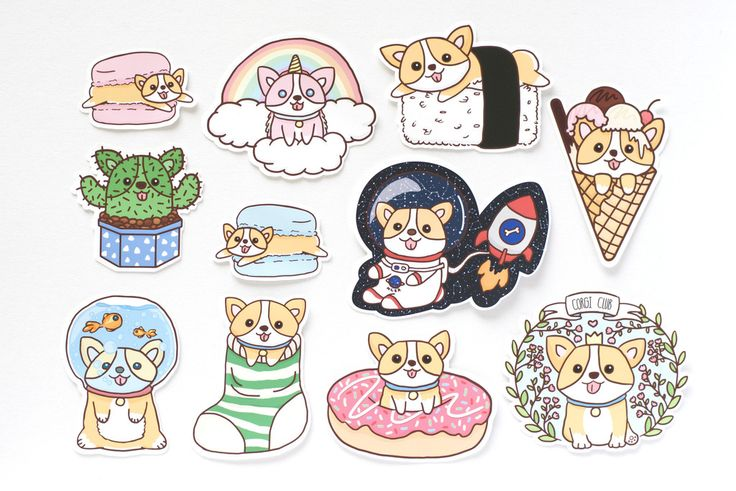 Cute Corgi Die Cut Stickers | This set includes 11 stickers Matte finish | These cute corgi stickers are perfect for you to put on game consoles, folders, laptops, phones, planners and more! Get these