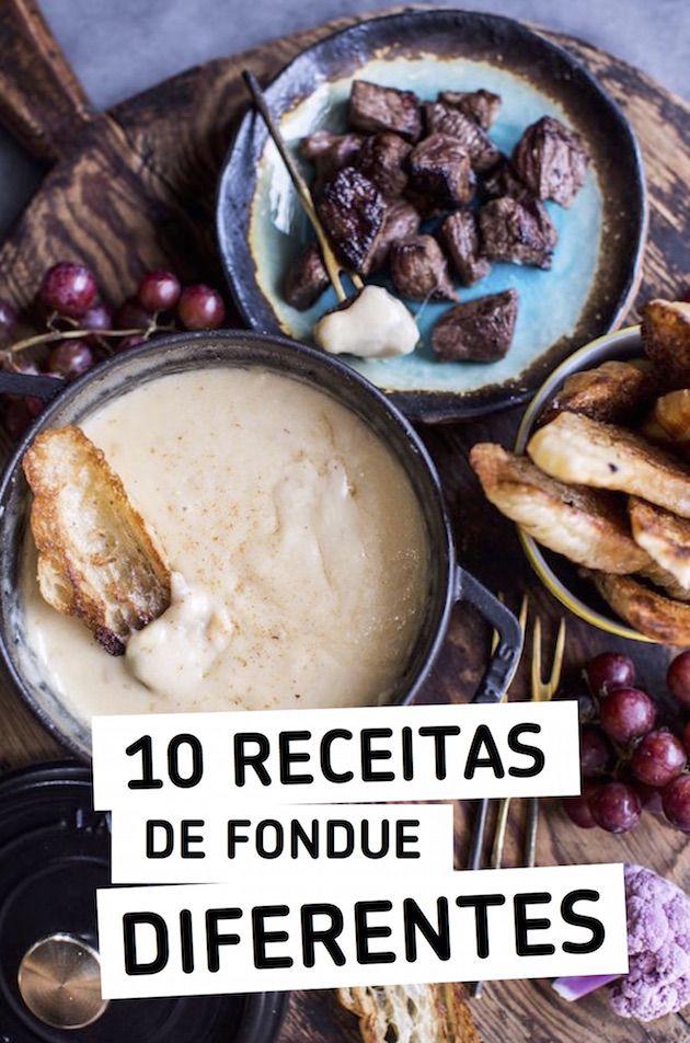 Reuni 10 receitas de fondue diferentes pra gente variar no tradicional, carne, queijo e chocolate que estamos acostumados. Tem fondue de oreo e hot dog também!