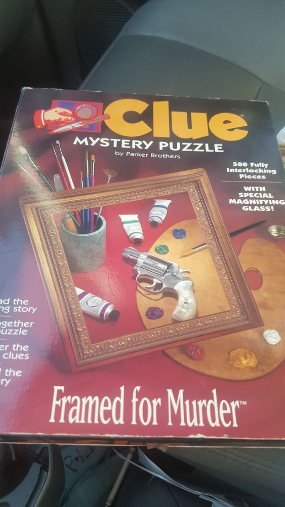 "VINTAGE Parker Brothers Clue Board Game 500pc Mystery Puzzle ""Framed For Murder"" #ParkerBrothers"