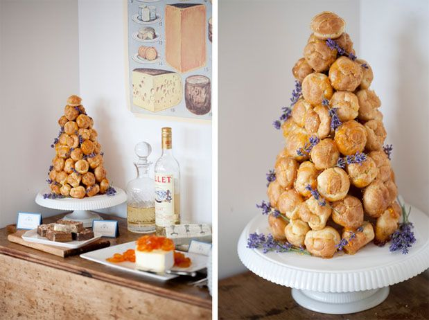 Croquembouche with lavender.