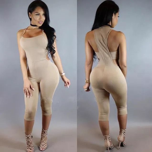 Sexy Nude Tan Brown Playsuit Bodysuit Catsuit Bodycon Jumpsuit Romper XL…