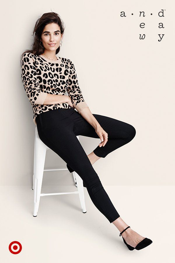 Mix up your fall look with A New Day's chic leopard-print sweater and ankle-strap heels.
