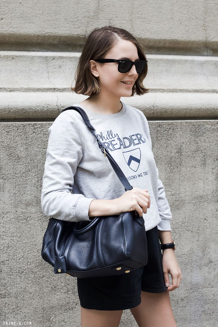 Trini | A.P.C philly readers sweatshirt Wood Wood shorts Louis Vuitton Sofia Coppola bag Ray-Ban wayfarer sunglasses Daniel Wellington watch