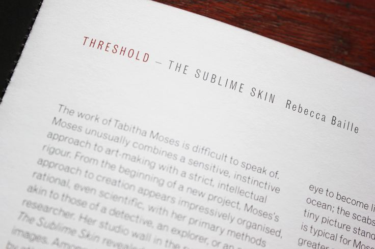 Essay page of the Threshold exhibition catalogue. Click the link to buy it. £3.50 + postage.