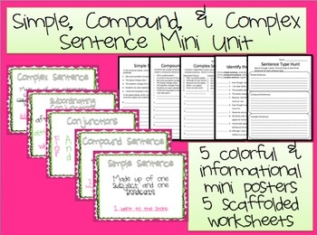 Worksheets Compound Complex Worksheet 17 best images about simple compound complex and sentences mini posters practice worksheets