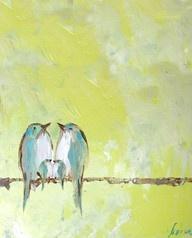 Love birds: Paintings Art, Chiffon Sky, Birds Art, Birds Paintings, 5X7 Prints, Paintings Projects, Sweetest Lemon, Rooms Colors, Lemon Chiffon