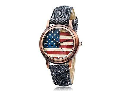 New Moment 007 USA Flag Print Round Dial Analog Quartz Women's Wrist Watch