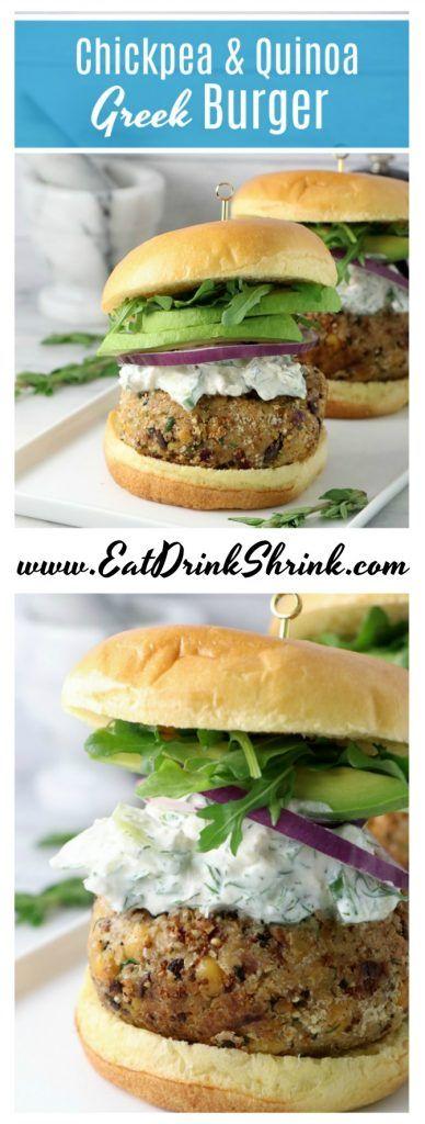 Vegan Chickpea Quinoa Greek Burgers