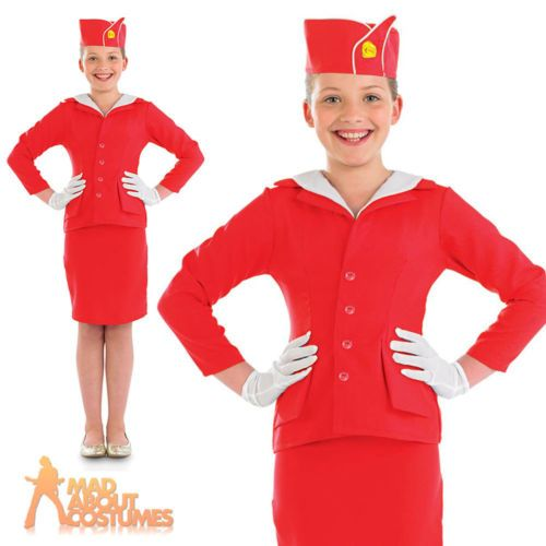 #Girls air hostess stewardess #costume #child red cabin crew fancy dress age 4-12,  View more on the LINK: http://www.zeppy.io/product/gb/2/151324430868/