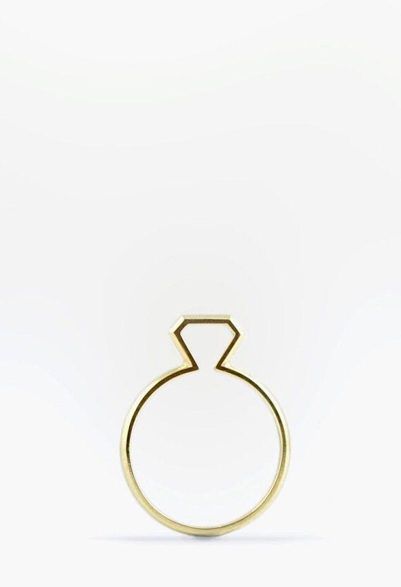 anillo de oro silueta diamante