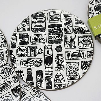 Illustrated Food Cupboard Coasters