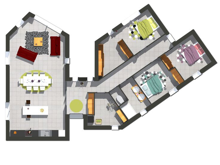 L'entrée tient une position centrale. De celle-ci, nous pouvons accéder à l'aile accueillant les pièces de nuit ou bien à l'aile où sont installé les pièces de vie. L'aile avec la pièce de vie est large ouverte, dépourvue de cloison, pour une circulation fluide et favoriser les échanges quelques soit l'endroit où nous nous trouvons (cuisine, salon, ou coin repas). La partie nuit accueille non seulement la suite parentale et 3 chambres avec les sanitaires mais aussi l'espace technique du…