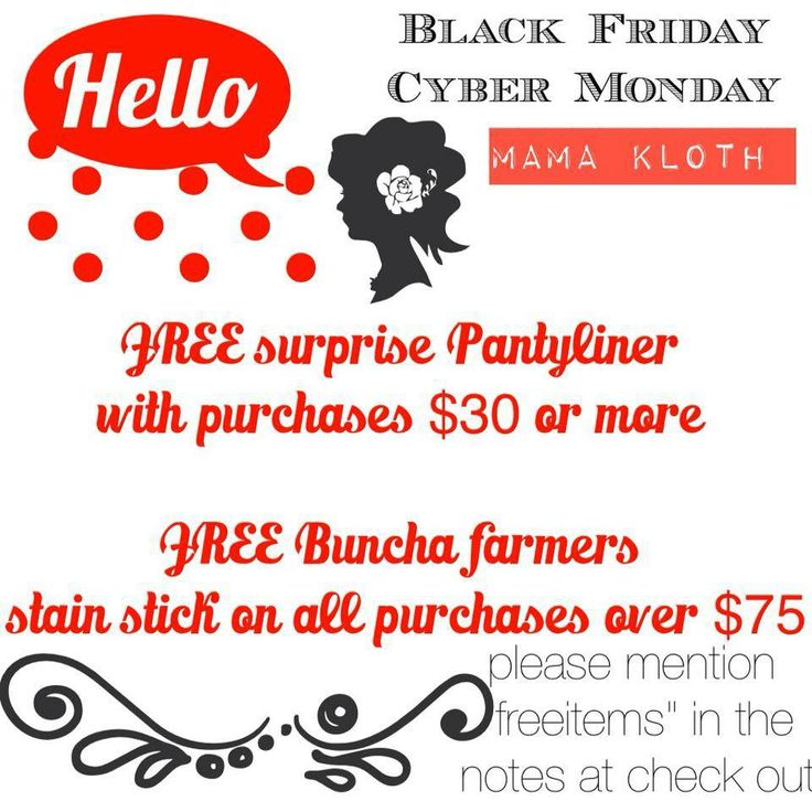 """Here it is! Starting Friday November 29th through to December 2. FREE surprise #pantyliner with purchases $30 or more. FREE Buncha Farmers Stain Stick on orders $75 or more. Be sure to mention in the notes at checkout """"freeitems"""" . Happy #clothpad shopping   #blackfriday #crunchymama #mamacloth #wahm #etsy"""
