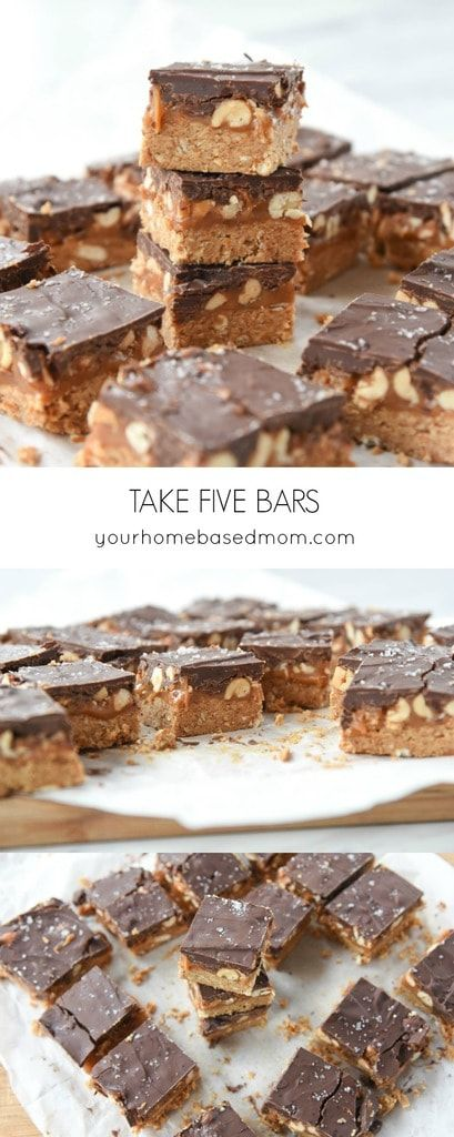 These Take Five Bars are salty, sweet, crunchy and chewy all in one bite. What more could you ask for?