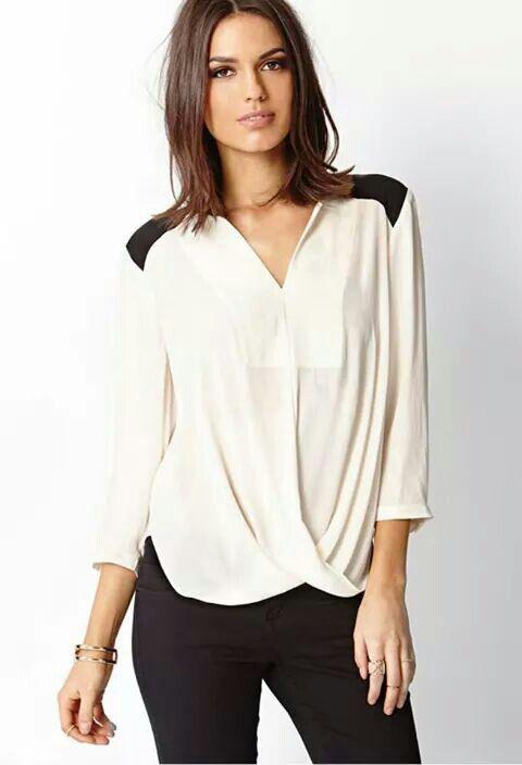 blusa blanca y pantalon negro formal moda pinterest