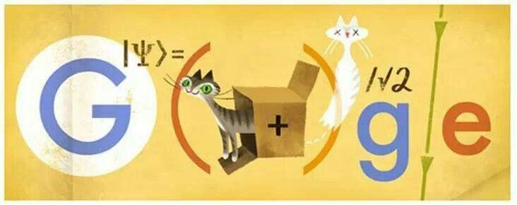 Doodle con la ecuación de onda y el gato de Schrödinger